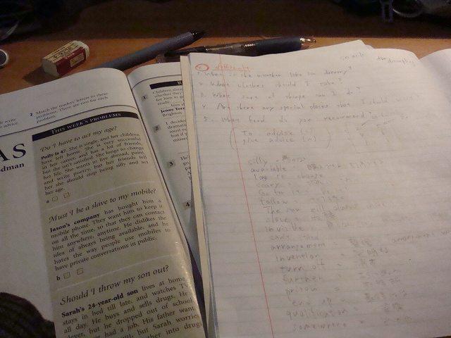 語学学校での教科書&勉強ノート